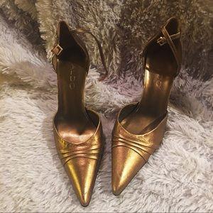 Aldo metallic pointed toe heels